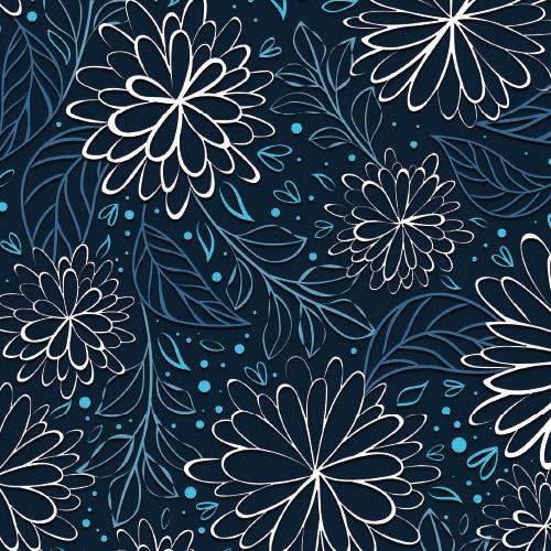 Bio-Baumwolljersey Pretty Fine Blossom blau-weiß Ökotex 100
