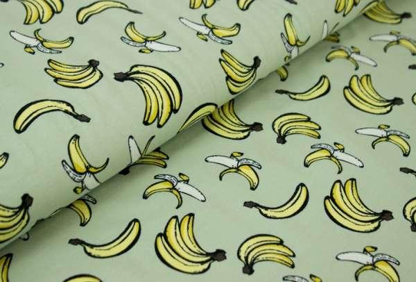 Bananen grün-gelb Baumwolljersey Öko Tex 100