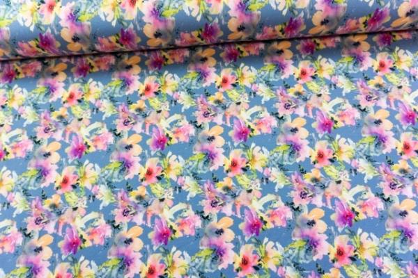 Baumwolljersey Digital Aquarell Flowers blau Ökotex 100