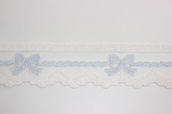 Bestickte Spitzenborte Schleifen weiß-hellblau 3,5cm Ökotex 100