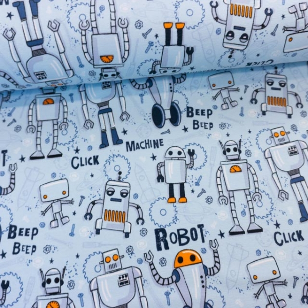 Sweat French Terry Robot hellblau Ökotex 100