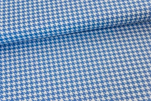 Baumwollwebware Hahnentritt jeansblau Ökotex 100