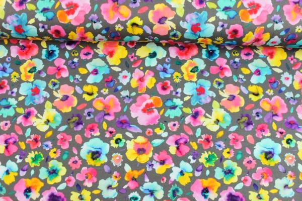 Sweat unangeraut Aquarell Blumen grau Ökotex 100