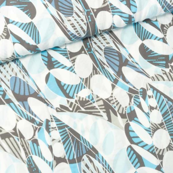 Viskosewebware Blätter blau