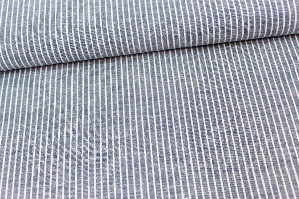 Leinen Stripes jeansblau meliert Ökotex 100
