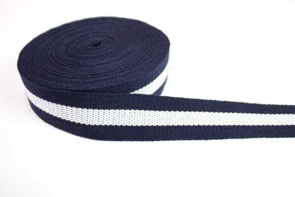 Gurtband 40mm navy-weiß Polyester Ökotex 100