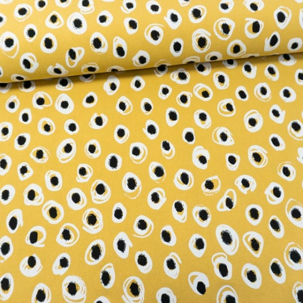 Baumwollwebware Baby Cotton Dots senfgelb