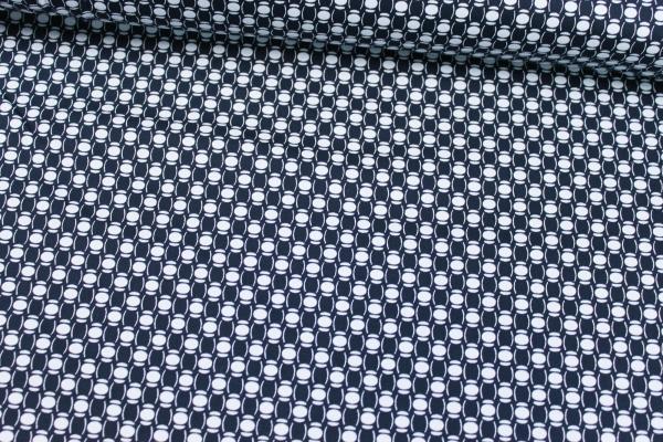 Elastische Baumwolle Bubbles navy-weiß Poplin Stretch Öko Tex 100