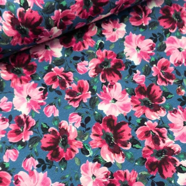 Sommersweat French Terry Blütenpracht jeansblau