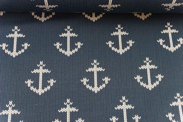 Baumwolljersey Anchor Knit navy- weiß Ökotex 100