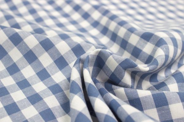 Baumwolle Vichy GROß jeans/weiß Öko Tex 100