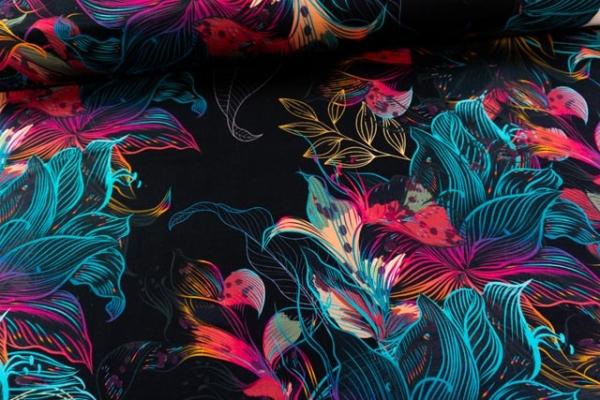 Bio-Baumwolljersey Wavey Blossom Rainbowfading Ökotex 100