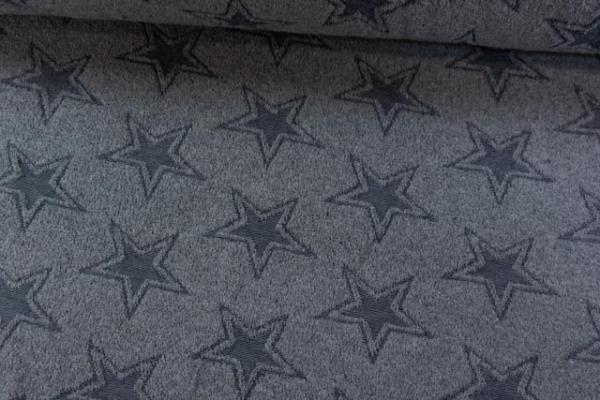 Kuschelfrottee Stars Melange dusty blue Ökotex 100