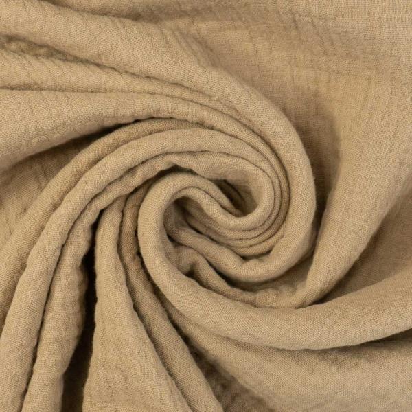 Musselin Double Gauze Uni beige 100% Baumwolle Ökotex 100
