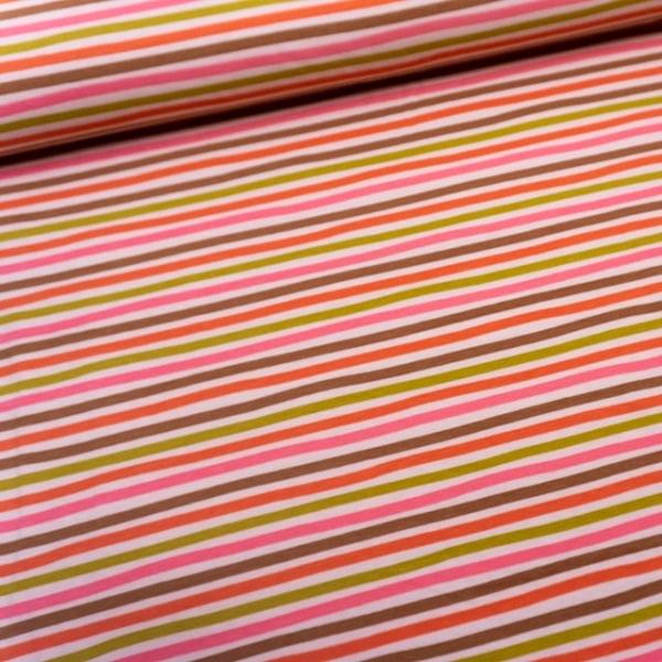 BIO Baumwolljersey Mixed stripes rosè
