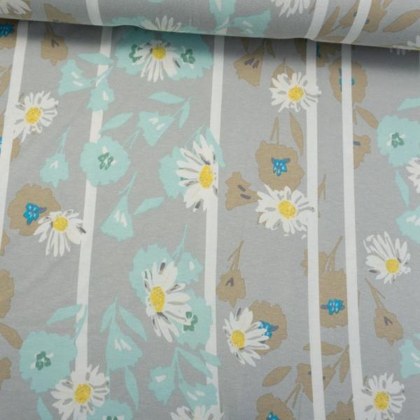 Viskosejersey Flowers and Stripes hellgrau