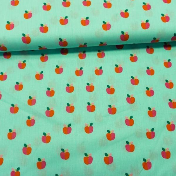 Baumwollwebware Popeline Rainbowäpfel mint