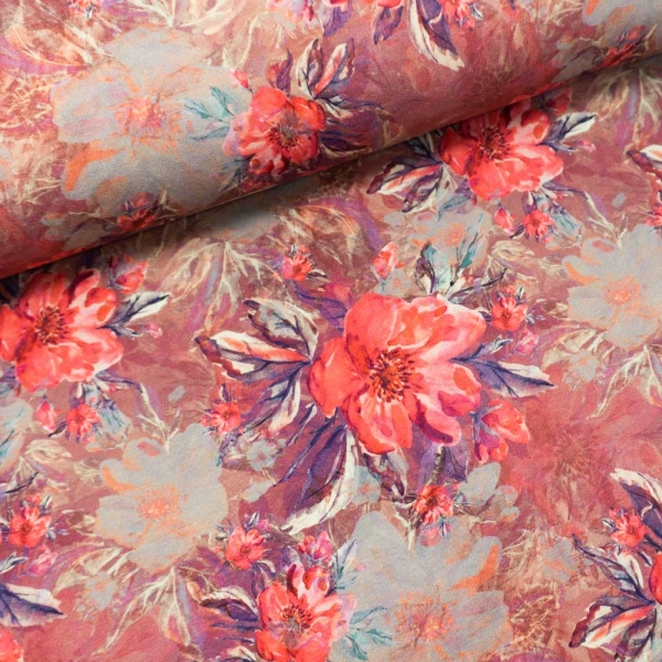 Sommersweat French Terry Painted Flowers bordeaux