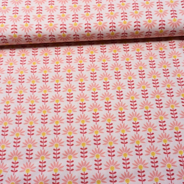 Baumwollwebware Graphic Flowers rosa