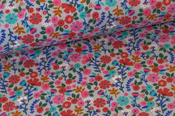 Baumwolljersey Small Flowers grau Ökotex 100