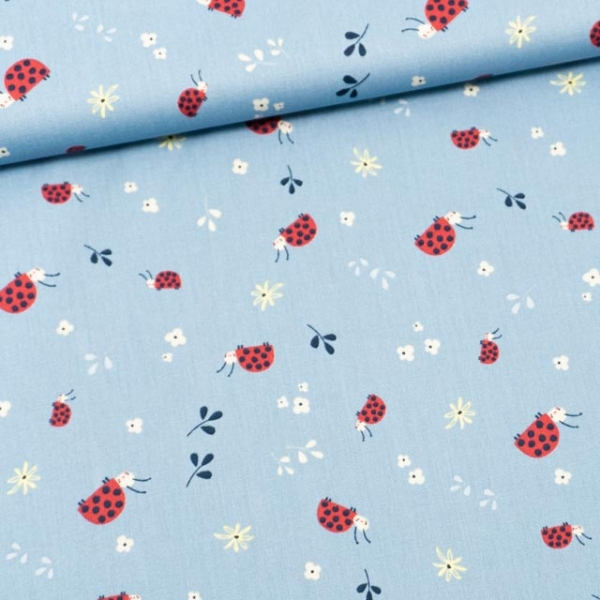 Baumwollwebware Ladybug jeansblau