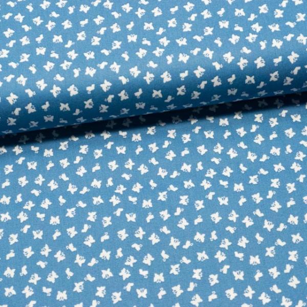 Baumwollwebware Mini Schmetterlinge jeansblau
