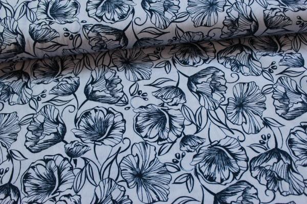 Elastische Baumwolle Feine Streifen Blumen blau-navy Poplin Stretch Öko Tex 100
