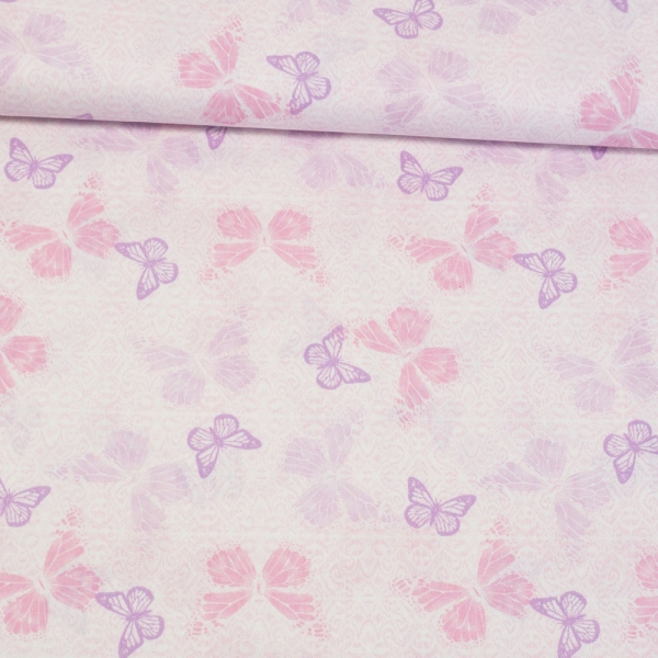 Baumwollwebware Schmetterlinge ecru-rosa