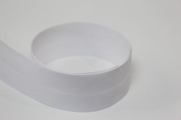 Schrägband 2cm oder 4cm breit vorgefalzt weiß Ökotex 100