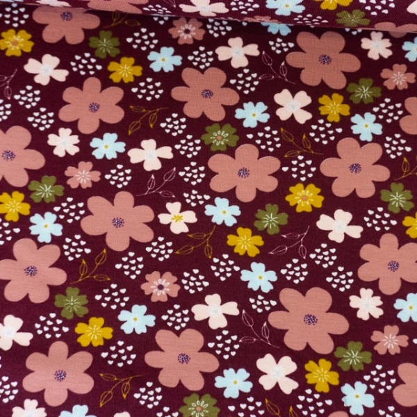 Bio-Baumwolljersey Flowers and Hearts bordeaux Ökotex 100