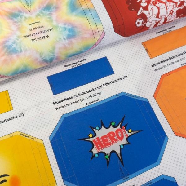 Baumwollwebware Maskenvordrucke 60cm Panel Rainbow/Football