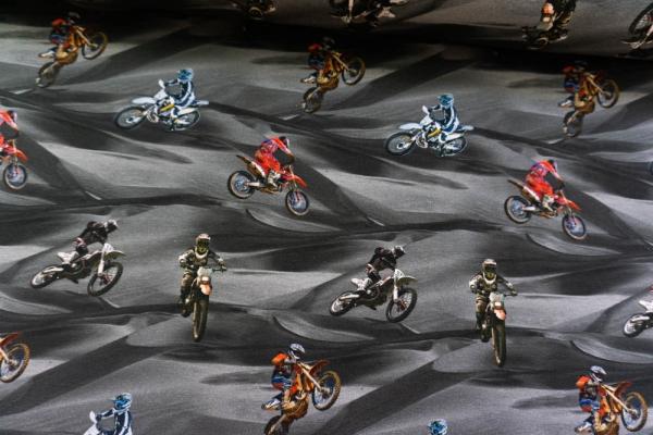 Baumwolljersey DIGITAL Dirt Bike Rider grau-anthra Öko Tex 100