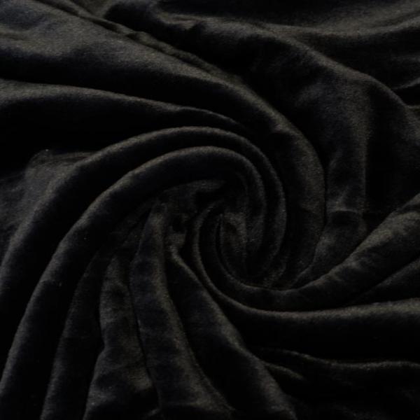 Velvet Samt-Sweat angeraut elastisch schwarz