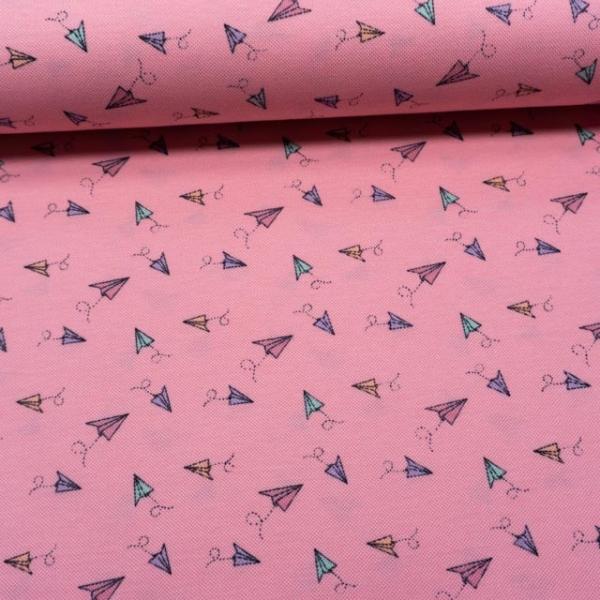 Poloshirt Baumwolljersey Papierflieger rosa