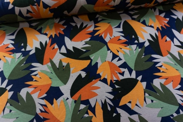 Viskosejersey Herbstblätter navy-orange-khaki Ökotex 100