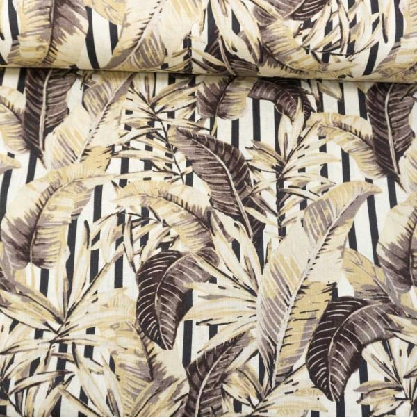 Leinen Palmenblätter beige-natur