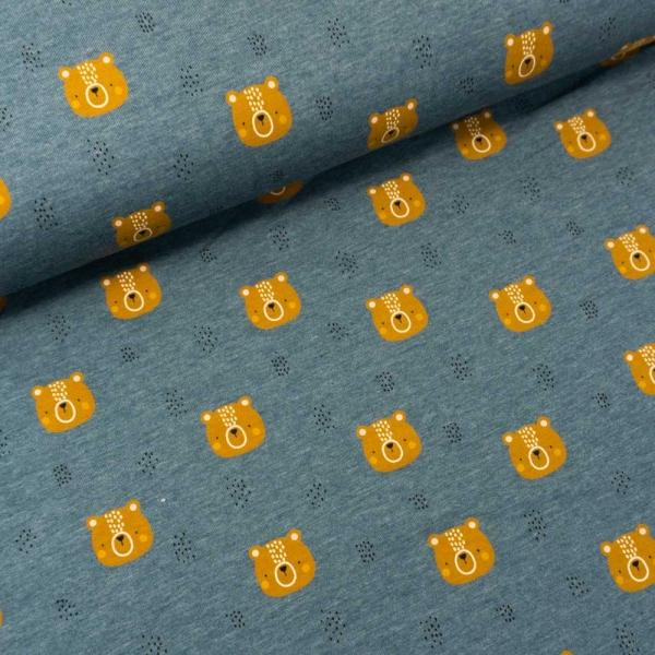 Baumwolljersey Little Bear MELANGE jeansblau