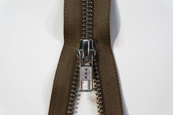 YKK nicht teilbarer Reißverschluss Metall sand Ökotex 100