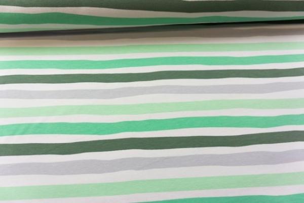 Baumwolljersey STRIPES khaki-lime-grau Ökotex 100