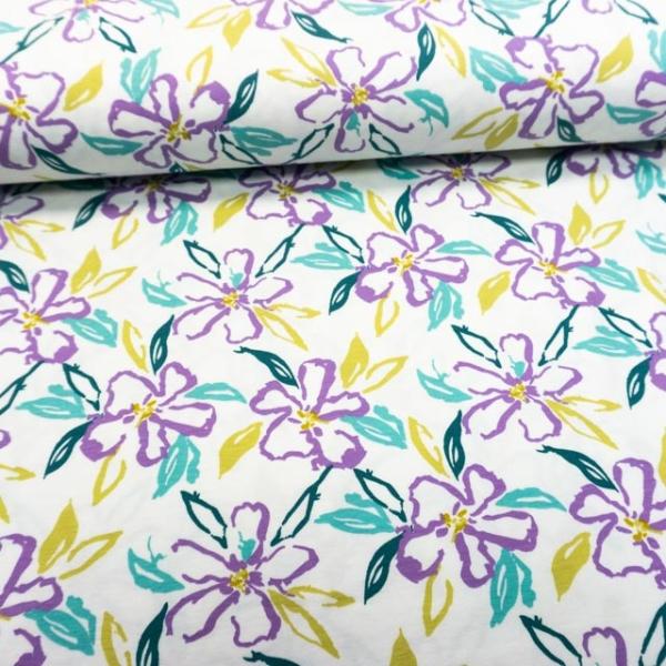 Baumwolljersey Drawing Flowers weiß