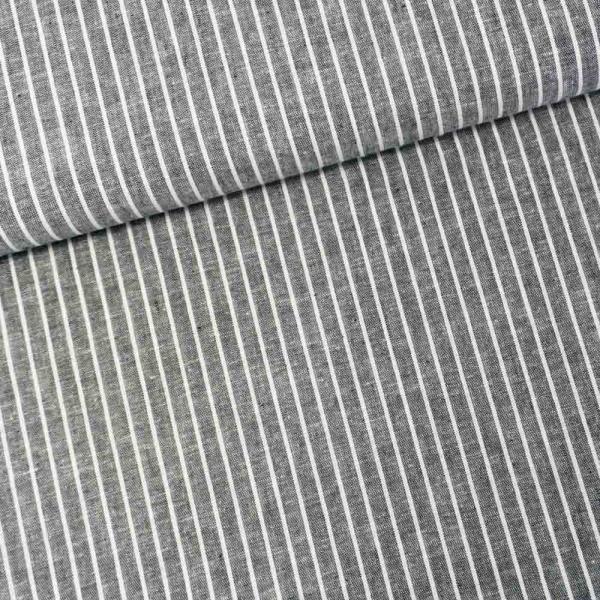 Leinen MELIERT Stripes schwarz