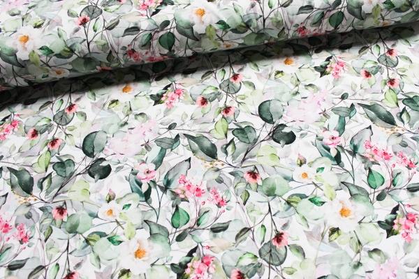 Baumwolljersey DIGITAL Blütentraum weiß-mint-petrol Öko Tex 100