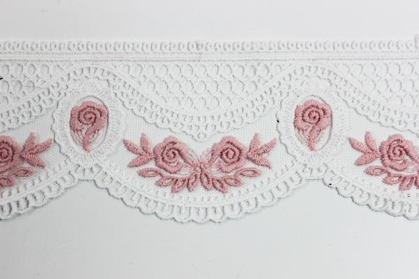 Bestickte Spitzenborte Rosen weiß-rosa 2,5cm Ökotex 100