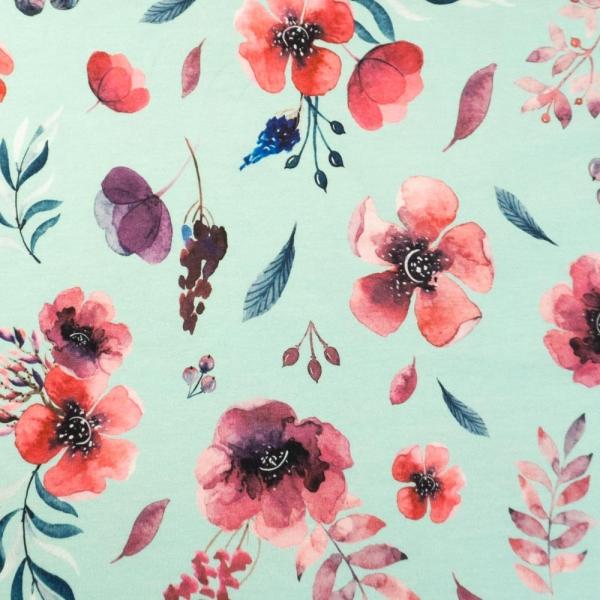 Bio-Baumwolljersey Berry Bloom mint