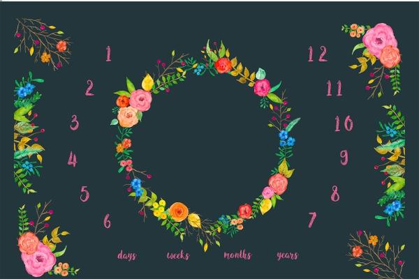 PANEL Baumwoll Satin Baby Kalender Floral navy-weiß Öko Tex 100