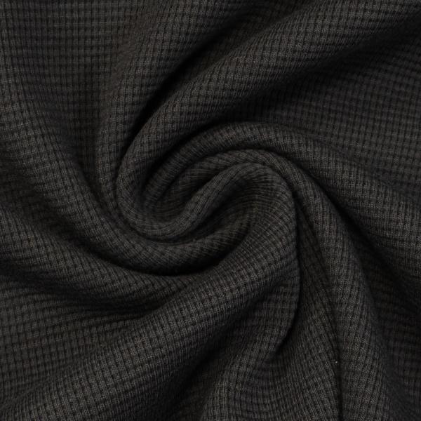 Waffelstrick Jersey Uni schwarz