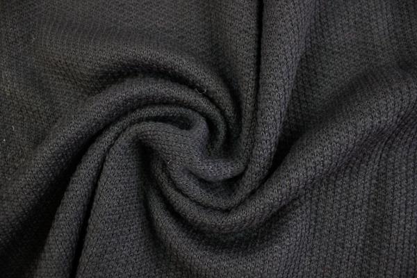 Strick Wollstoff Struktur tief schwarz 100% Wolle Ökotex 100