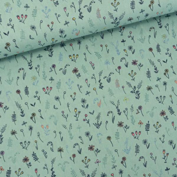 Baumwollwebware Streublümchen dusty mint