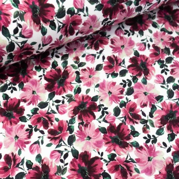 Sommersweat French Terry Blütenpracht weiß