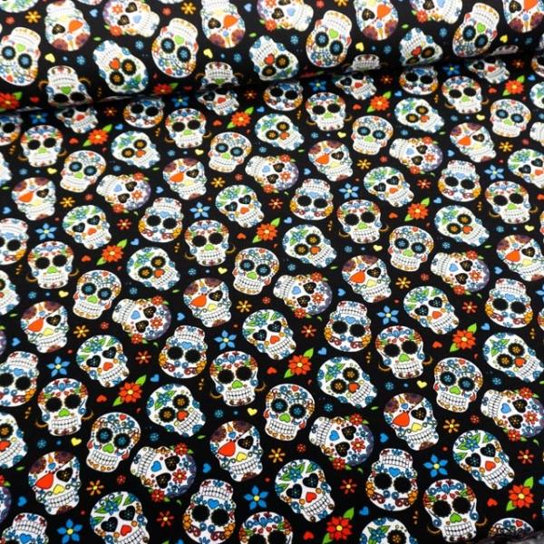 Baumwolljersey Mexican Skull schwarz